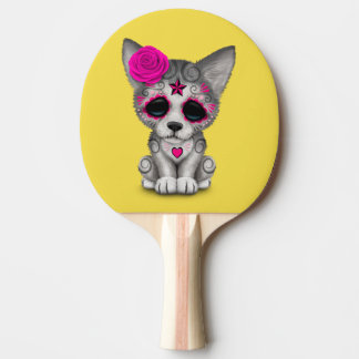 Raquete De Ping Pong Dia cor-de-rosa do lobo Cub inoperante