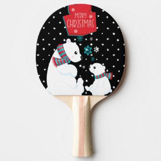 Raquete De Ping Pong Dois Felizes Natais dos ursos polares
