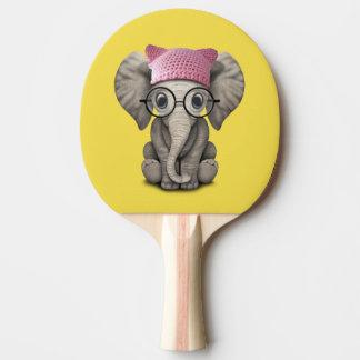Raquete De Ping-pong Elefante bonito do bebê que veste o chapéu do