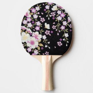 Raquete De Ping Pong Falln que conecta flores cor-de-rosa