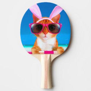Raquete De Ping Pong Gato com óculos de sol e orelhas de coelho 00cccaac66