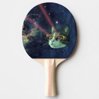 Raquete De Ping Pong Gato do laser com vidros no espaço