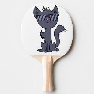 c46ad3e371131 Raquete De Ping Pong Gato engraçado com desenhos animados dos óculos de