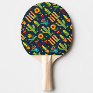 Raquete De Ping-pong Girassol do cacto no teste padrão azul de Festa