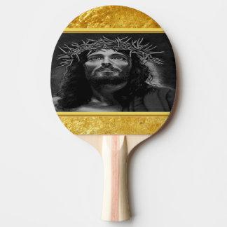 Raquete De Ping Pong Jesus que olha no céu com um design da folha de
