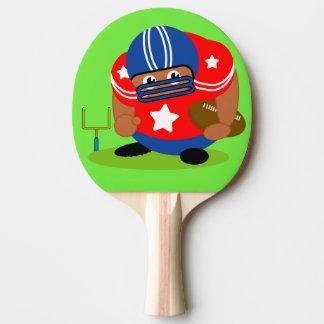 Raquete De Ping-pong Jogador de futebol americano preto que guardara um