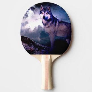 Raquete De Ping Pong Lobo da lua - lobo cinzento - lobo selvagem - lobo