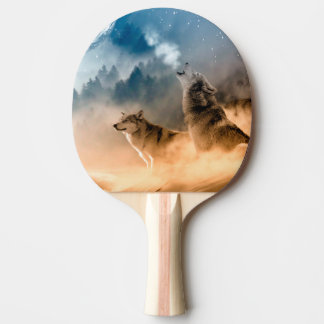 Raquete De Ping Pong Lobo de Howlin - arte do lobo - lobo da lua - lobo