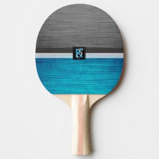 Raquete De Ping Pong Monograma azul e cinzento do tom dois simples das