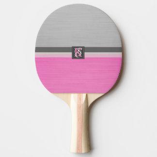 Raquete De Ping Pong Monograma cor-de-rosa e cinzento do tom dois