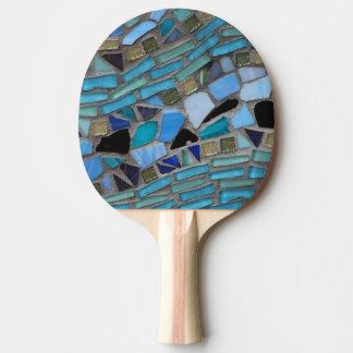 Raquete De Ping Pong Mosaico azul do vidro do mar