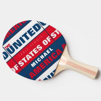 Raquete De Ping Pong pá patriótica legal dos table_tennis com nome dos