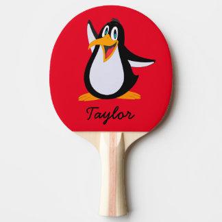 Raquete De Ping-pong Pinguim bonito dos desenhos animados no vermelho
