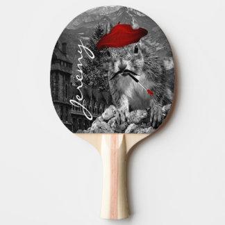 Raquete De Ping Pong Pintor engraçado do esquilo com nome