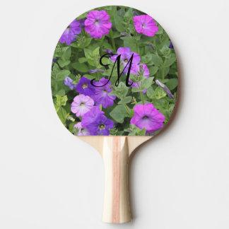 Raquete De Ping Pong Primavera roxo feminino das flores das iniciais