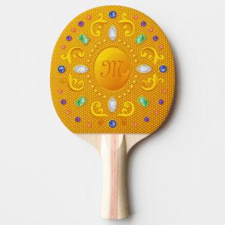 Raquete De Ping-pong Princesa Espelho da beleza do ouro com jóias e