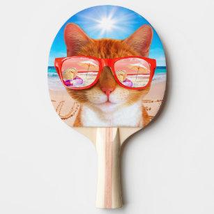 Raquete De Ping Pong Summercat com óculos de sol - gato dos óculos de 21d7b2653d