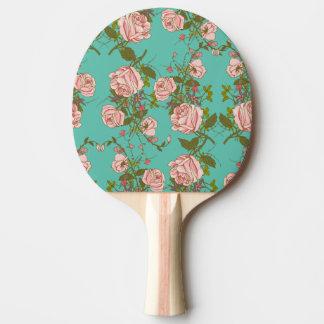 Raquete De Ping-pong Teste padrão Minty retro das videiras do vintage