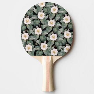 Raquete De Ping Pong Teste padrão preto do OM da camélia branca