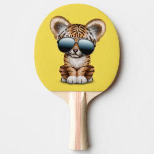 2f561e33c7571 Raquete De Ping Pong Tigre de bebê bonito que veste óculos de sol