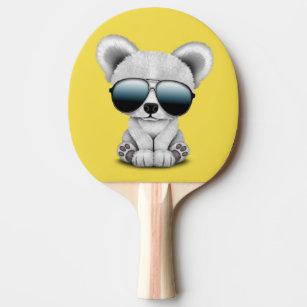 0212b8e68e26d Raquete De Ping Pong Urso polar do bebê bonito que veste óculos de sol