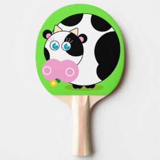 Raquete De Ping Pong Vaca preto e branco dos desenhos animados do