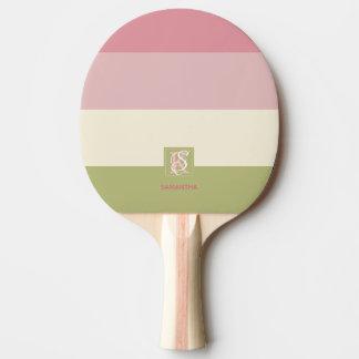 Raquete De Tênis De Mesa A paleta de cores do verde do rosa do creme listra