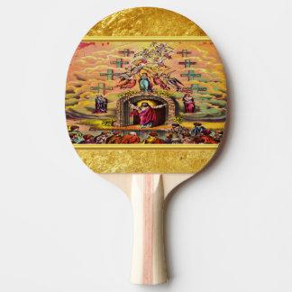 Raquete De Tênis De Mesa A porta do céu com uma textura e um Jesus da folha