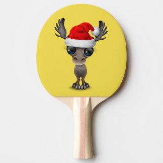 Raquete De Tênis De Mesa Alces do bebê que vestem um chapéu do papai noel