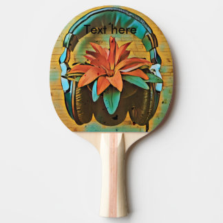 Raquete De Tênis De Mesa auscultadores do Vintage-estilo na planta