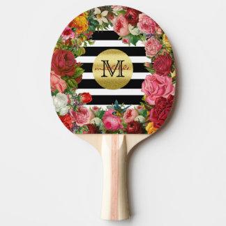 Raquete De Tênis De Mesa Brilho na moda do ouro das flores dos rosas das