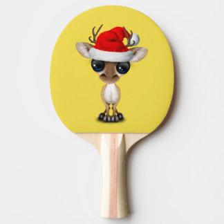 Raquete De Tênis De Mesa Cervos do bebê que vestem um chapéu do papai noel
