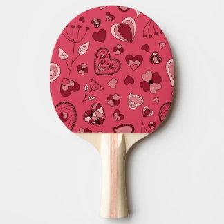 Raquete De Tênis De Mesa Corações e pá cor-de-rosa de Pong do sibilo das