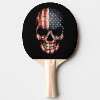 Raquete De Tênis De Mesa Crânio da bandeira americana