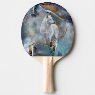 Raquete De Tênis De Mesa Dreamcatcher do lobo - lobo branco - arte do lobo