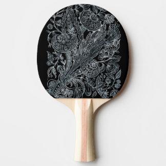Raquete De Tênis De Mesa estilo floral de prata do embutimento