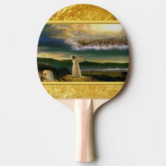 Raquete De Tênis De Mesa Jesus no design da textura do ouro da porta do céu