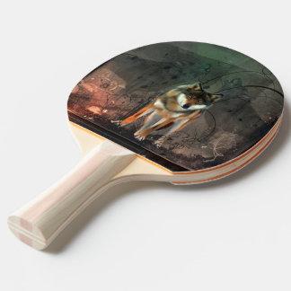 Raquete De Tênis De Mesa Lobo impressionante no fundo do vintage