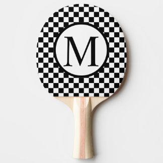 Raquete De Tênis De Mesa Monograma simples com tabuleiro de damas preto