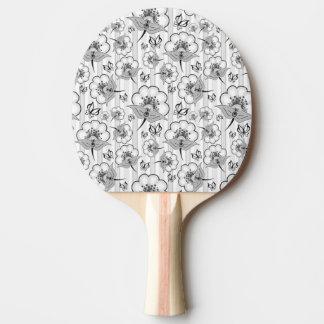 Raquete De Tênis De Mesa Padrões de flores sem emenda brancos pretos