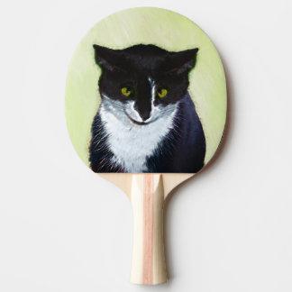 Raquete De Tênis De Mesa Pintura do gato do smoking - arte original bonito
