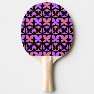 Raquete De Tênis De Mesa Teste padrão de borboleta preto roxo magenta das