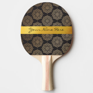 Raquete De Tênis De Mesa Teste padrão floral da mandala do preto elegante