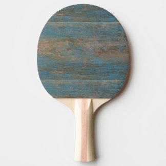 Raquete De Tênis De Mesa Textura azul da madeira da praia do falso
