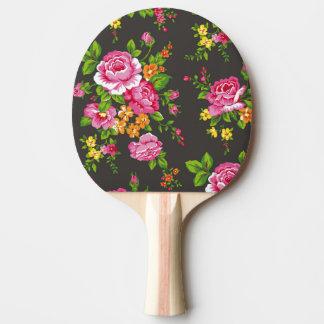 Raquete De Tênis De Mesa Vintage floral com rosas cor-de-rosa