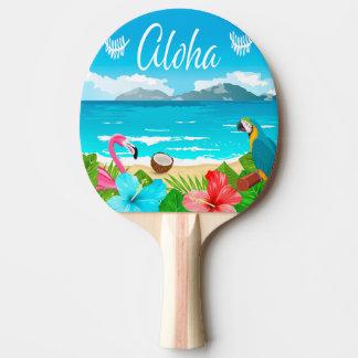 Raquete Para Ping Pong Aloha praia havaiana com flamingo e flores