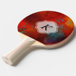 Raquete Para Ping Pong Arte abstracta vermelha de Digitas do Grunge do