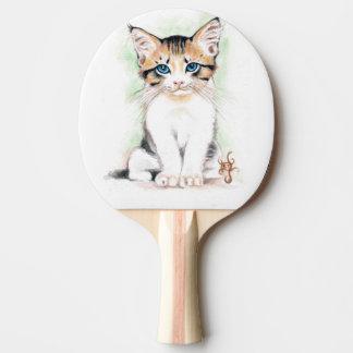 Raquete Para Ping Pong Arte bonito da aguarela do gato malhado