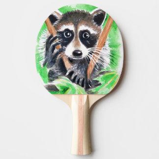 Raquete Para Ping Pong Arte bonito da aguarela do guaxinim