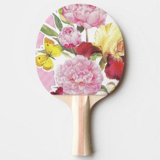 Raquete Para Ping Pong Buquê cor-de-rosa e amarelo floral da íris da
